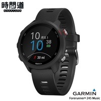 GARMIN -現貨- 贈鋼化防爆膜 Forerunner 245 Music 進階訓練GPS心率腕錶-音樂黑【時間道】