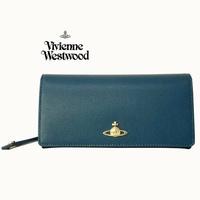 Vivienne Westwood ( 深藍綠色×黑色 ) 真皮防刮壓紋 兩摺長夾 有照片格  皮夾 錢包|100%全新正品|特價!