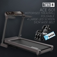 Twin H ACE 601 Motorised foldable treadmill 4 LCD Screen Multimedia Home Gym Professional Commercial