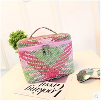 South Korean high-capacity portable stereo Cosmetic Pouch Cosmetic Case full color woven leather wat