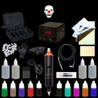盒+馬達機刺青電筆1台+紋身色料10瓶 紋身套裝刺青套組紋眉繡眉機一體針穩壓器腳踏板練習皮-MOGGAE魔鬼刺青紋身器材
