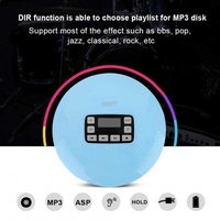 Sweatbuy LCD Portable AUX CD Player + Headphone for MP3/CD/CD-R/CD-RW Disk Light Blue US Plug