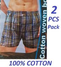 Byford 2 pcs pack 100% Cotton Woven Boxer Shorts M, L, XL & XXL