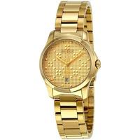 K/    GUCCI YA126553 古馳 手錶 G-Timeless 27mm 鋼錶帶 金色金錶 女錶