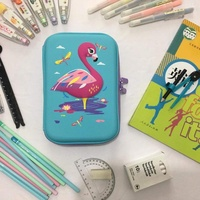 Smiggle Hardtop Pencil Case EVA 3D Stationery Hardcover Cute Cartoon Animal Pattern Large Capacity Pencil Case-Flamingo