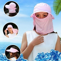 Women Uv Protection Brimmed Floppy Hat Caps with Face Mask