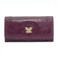 anasui ANNA SUI襟翼式長錢包紫紫色Purple澆向,有硬幣袋的蝴蝶線斯通徽章牛皮女士307031 90 Salada Bowl