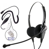 RJ9 Headset - Business Grade Economic Binaural headset + Avaya Cisco Nortel Phone Virtual compatibility RJ9 cord built in Plantronics compatible QD - intl