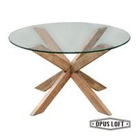 復古LOFT工業風 叉字 原木腳 玻璃圓桌