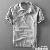 夏季男士亞麻短袖襯衫棉麻薄款復古透氣套頭半袖麻布短袖男襯衣潮