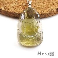 【Hera】頂級天然3A級黃水晶手雕寶瓶觀音項鍊-大(無加熱)