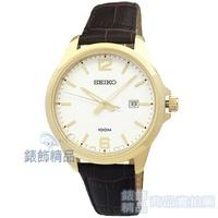 【錶飾精品】SEIKO手錶 SUR252P1 精工表 經典時尚 白面咖啡色壓紋真皮錶帶男錶 全新原廠正品