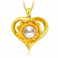 Chow Tai Fook 999 Pure Gold Pendant with Pearl