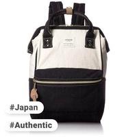Anello anello (Anello) official mouthpiece denim backpack small AT-B0935B CBK (White × Black)