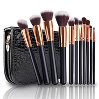 Makeup Brushes, VANDER LIFE Professional Travel Rose Gold Makeup Brush Set 11Pcs with Case Organizer Crocodile Skin