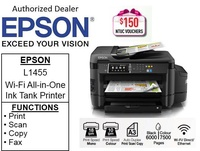 Epson EcoTank L1455 Business A3 Multi Function A3+ Print,Scan,Copy & Fax with ADF ( Free 2 x 32BG Flash Drive ) ** Free $150 NTUC Voucher Till 2nd Mar  2019 **  Epson 1455 L 1455