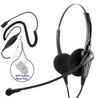 RJ9 Headset - Business Grade Economic Binaural headset + Avaya Cisco Nortel Phone Virtual compatibility RJ9 cord built in Plantronics compatible QD