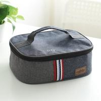 方形飯盒袋手提扁平包大號便當午餐袋學生帶飯包保溫保鮮餐盤袋包