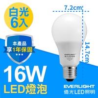 億光LED 16W 全電壓 E27燈泡 PLUS升級版 白光 6入