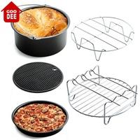 【GOODEE】空氣炸鍋配件五件套蛋糕桶烘焙籃披薩盤烤架Cozyna飛利浦Gowise和Power Air Fryers