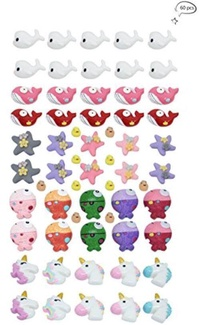 60 PCS Slime Charms, Fineder Unicorn Dolphin Duck Clownfish Starfish Whale Slime Charms Resin Flatback of Slime Beads for Ornament Scrapbooking DIY Crafts