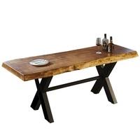 【AT HOME】工業風設計6尺厚切原木鐵藝餐桌/工作桌(180x70x76cm/泰森)