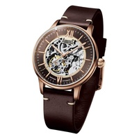 ARBUTUS WALL STREET AR1808RFF AUTOMATIC ROSE GOLD STAINLESS STEEL BROWN LEATHER STRAP MENS WATCH