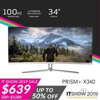 "PRISM+ X340 34"" 100Hz Curved Ultrawide 21:9 WQHD [3440 x 1440] Freesync Gaming Monitor"