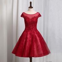 OFFICESTAR女士短款禮服宴會婚禮洋裝00013085酒紅色大紅色銀色