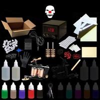盒+紋身色料5瓶+刺青機1台 紋身套裝刺青套組 工具材料+針+穩壓器+腳踏板轉印練習皮綠皂-MOGGAE魔鬼刺青紋身器材