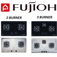 Fujioh FH-GS5520/FH-GS5530 2-Burner/3-Burner Gas Hob With Safety Device(Black Glass/Stainless Steel)