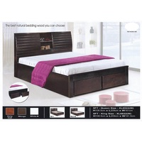 Solid Wood Strong Queen Size Wooden Bed Frame With Headboard Storage & 2 Storage Drawers L2150MM X W1610MM X H1085MM Pre-Order 2 Week