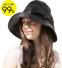 T WILKER UV cut hat ladies uv hat small face fruit group [UV cut rate 99% heat stroke prevention] ac