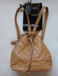 CHANEL shanerumatorasse 2Way帆布背包手提包魚子醬皮膚淺駝色女士包包c16-3576 RayLine