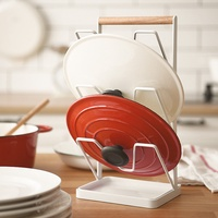 ✤宜家✤時尚居家多功能北歐簡約白色鐵藝鍋蓋瀝水架 砧板菜板架 三層置物架 廚房用品帶接水盤