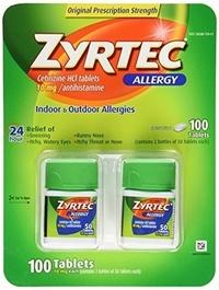 Zyrtec Cetirizine Hcl/Antihistamine (10 mg)?? 100 Tablets B004R4KBMM