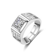 ❤SK Men Jewelry Stylish Silver Plated Ring Wedding Diamond Fashion Jewellery Finger Rings for Men ,adjustable