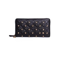 Tory Burch Fleming Leather Stud Quilted Zip Continental Wallet in Black 46451-001