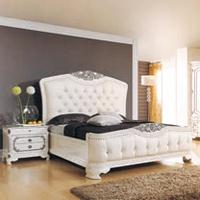 【AT HOME】法式輕奢華6尺象牙白銀邊雙人床(不含床墊)