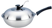 wok 32cm stainless steel cooking wok cookware pan no coating wok with cover