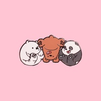 We Bare Bears Squished Hard Enamel Pin  We Bare Bears Badge  We Bare Bears Pin  WBB Pins  Enamel pins  Bear Pin  Cute Badges