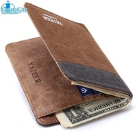 【COA】 YATEER YATEER Fashion Men Ultra Thin Patchwork Canvas Soft Slim Wallet