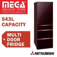 Mitsubishi Mr-Wx71Y 543L 6 Door Fridge Glass Brown