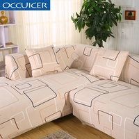 Universal Sofa Covers for L Shape 2pcs Polyester Fabric Stretch Slipcovers  2pcs Pillow Covers for Sectional sofa L-shape Couch