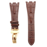 28mm Brown White Line Soft Leather Watch Band For Audemars Plguet Royal Oak Offshore