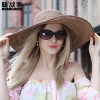 拉菲草帽女夏天出游海邊夏季超大帽檐遮陽帽防曬海灘大沿沙灘帽子