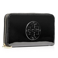 Tory Burch Stacked Patent Zip Around Continental Wallet in BLACK B01A7QDKUI