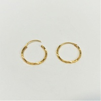 Gold 1314   22K 916 Pure Gold Hoop Earrings  22K 916 纯金耳箍