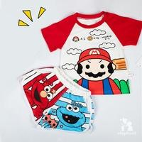 寶貝小象 瑪莉歐t恤 芝麻街 短袖T恤+短褲套裝 兒童套裝 男童 女童 兄妹裝 兩件套 角色扮演 超級瑪麗套裝