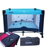 寶盟BAUMER 圓點遊戲床(水藍)含雙層架+尿布台